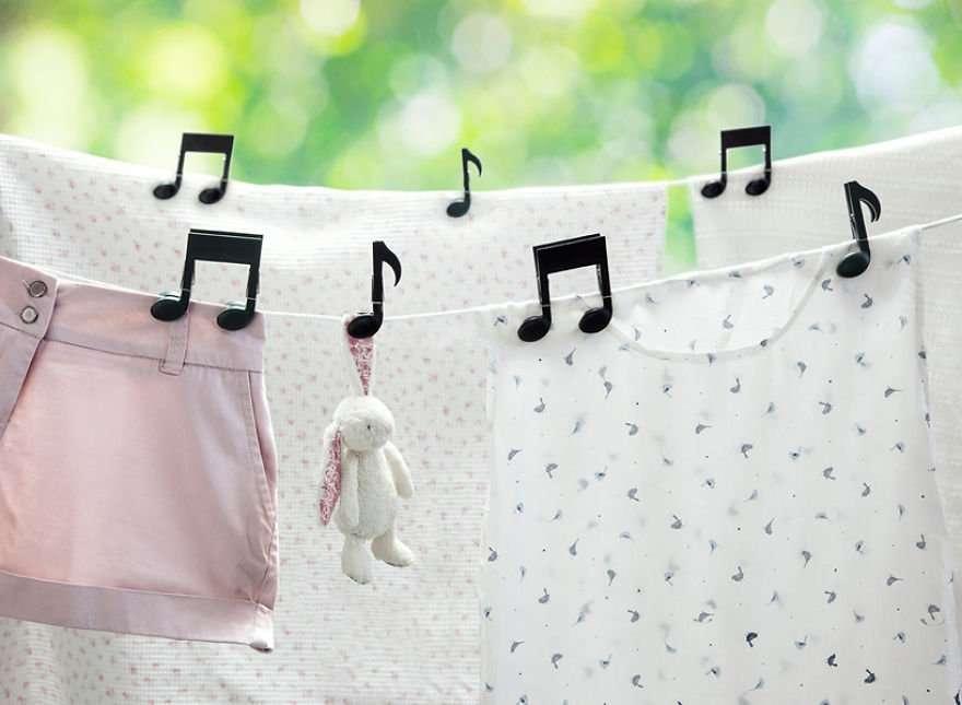 Mollette per il bucato a forma di note musicali