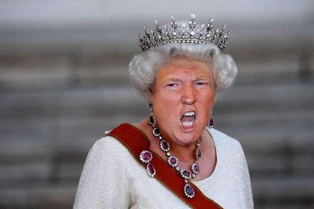 La regina Elisabetta con la faccia di Trump