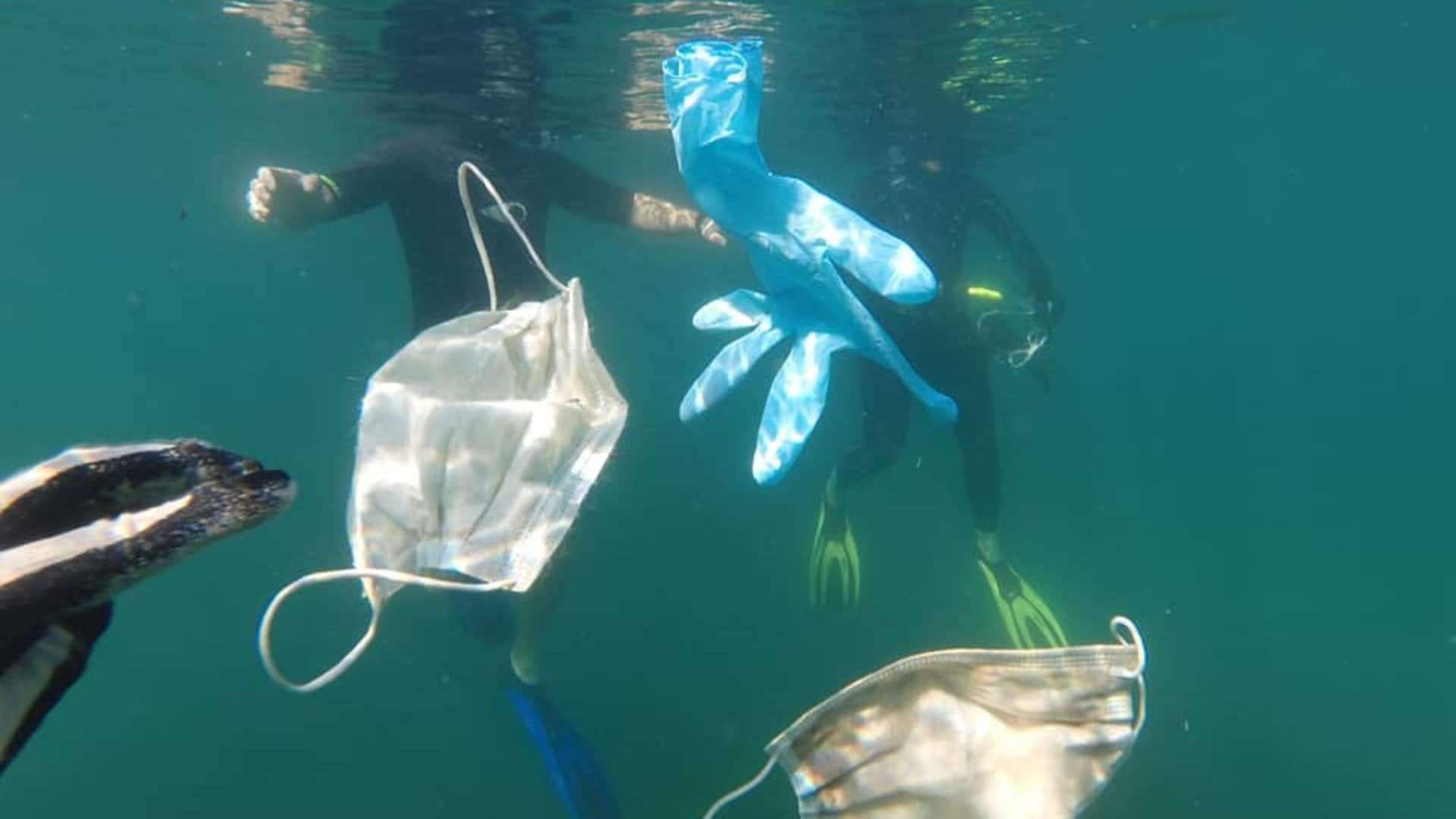 mascherine e guanti rifiuti in mare