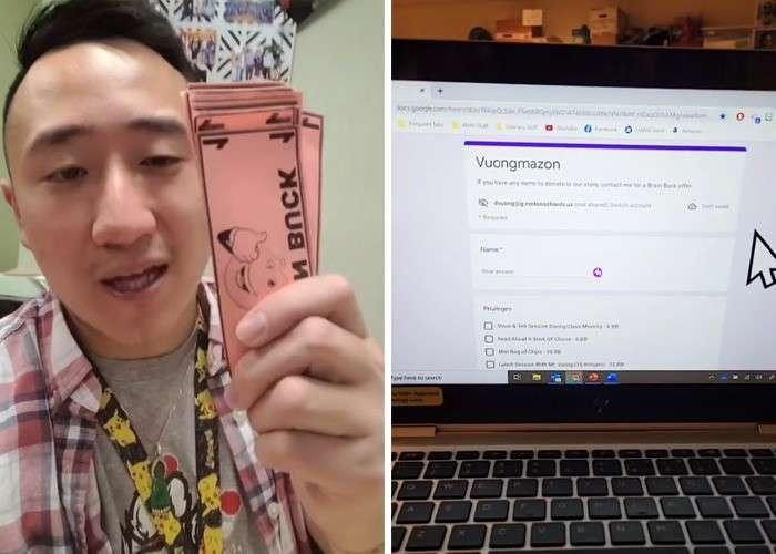 Il Maestro Vuong con dei Brain Bucks bonus da usare in caso di debiti. Sono dei veri e propri buoni convertibili su un sito creato apposta.